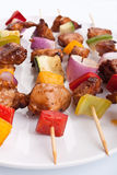 Vegetable and meat kebabs Royalty Free Stock Photo