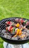 Vegetable and meat skewer on grill Royalty Free Stock Images