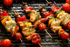 Vegetable and meat skewers in a herb marinade Stock Photography