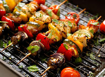 Vegetable and meat skewers in a herb marinade Royalty Free Stock Images