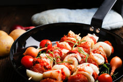 Vegetable and meat on wooden skewers on plate Royalty Free Stock Image