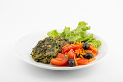 Vegetable meatballs. Garnished with beetroot and cabbage. Front view. Selective focus. White background stock photos