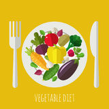 Vegetable menu banner. Healthy food and dieting concept. Icons for farm fresh products, locally grown and organic food Stock Photography