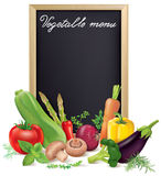 Vegetable menu board and vegetables Royalty Free Stock Photography