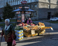 Vegetable merchant in the street Royalty Free Stock Images