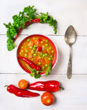 Vegetable minestrone soup with tomato royalty free stock photos