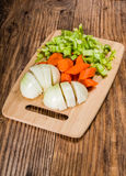 Vegetable mirepoix on a cutting board Stock Photo