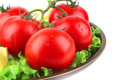 Vegetable mix on dark dish Royalty Free Stock Image