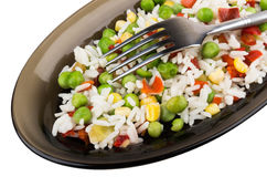 Vegetable mix in dish and fork Royalty Free Stock Images