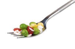 Vegetable mix on fork Stock Photo