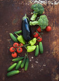 Vegetable mix of garden cherry tomatoes, cucumbers royalty free stock photo
