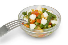 Vegetable mix in glass dish Royalty Free Stock Images