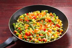 Vegetable mix in the pan Royalty Free Stock Photos