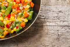 Vegetable mix in the pan Stock Photo