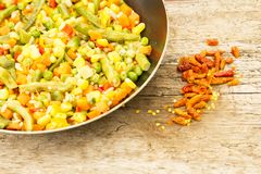 Vegetable mix in the pan Royalty Free Stock Images