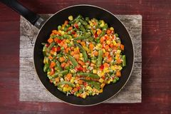 Vegetable mix in the pan Stock Images