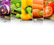 Vegetable mix. Photo of colorful vegetable mix with white space for text Stock Image