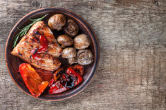 Vegetable mix and a piece of meat Royalty Free Stock Images