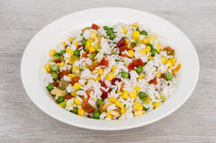 Vegetable mix in plate on wooden table Royalty Free Stock Photography