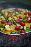 Vegetable mix prepared on a grill. With fire in a background Royalty Free Stock Image