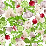 Vegetable mix seamless pattern Royalty Free Stock Images