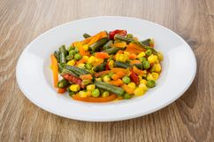 Vegetable mix in white plate on table Stock Photography