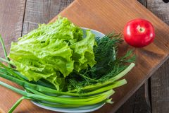 Vegetable for  mixed salad  - fresh tomato; cucumber; pepper, di. Vegetable for  mixed salad  - fresh tomato; green onion, dill, on old wooden board, horizontal Royalty Free Stock Image
