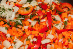 Vegetable mixture in skillet Stock Image