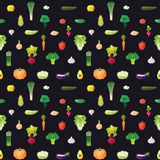 Vegetable multicolored seamless vector pattern. Modern flat design. Stock Photography