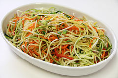 Vegetable noodles plain on white Royalty Free Stock Photo