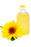 Vegetable oil with a flower sunflower Royalty Free Stock Photos