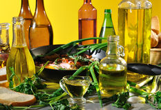 Vegetable oil. Still life of bottles of vegetable oil Stock Photography