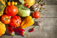Vegetable on a  old table background. Vegetable on a rustic old table background Royalty Free Stock Photo