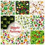 Vegetable, olive fruit, mushroom seamless pattern Stock Image