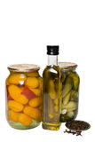 Vegetable and olive oil. On the white background Stock Photography
