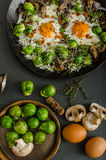 Vegetable omelet with bulls eye egg and sprouts Royalty Free Stock Images