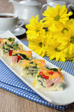 Vegetable omelet with spinach Royalty Free Stock Images