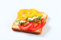 Vegetable open faced sandwich. Tomato and pepper sandwich with mayonnaise sauce Stock Photos