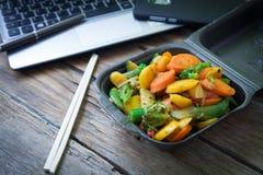 Vegetable oriental food. Oriental wok vegetables to eat at work Stock Photos