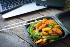 Vegetable oriental food. Oriental wok vegetables to eat at work Stock Photo