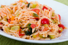 Vegetable orzo. Pasta salad on plate stock image