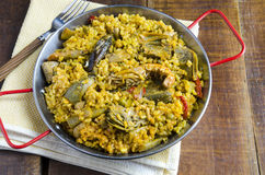Vegetable paella Royalty Free Stock Images