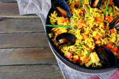Vegetable paella with seafood, top view Stock Photo