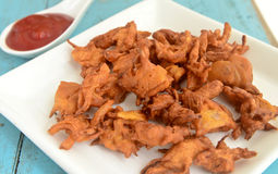 Vegetable Pakora. Indian vegetable Pakora.A fried snack prepared from Chickpea floor Royalty Free Stock Photography