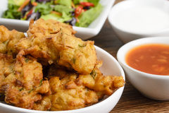 Vegetable Pakora or Onion Bhajis Stock Photos