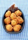Vegetable Pakoras from the deli Stock Photo