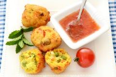 Vegetable Pakoras with sweet chili sauce Stock Photo