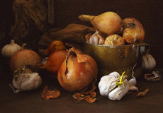 Vegetable palette. Vegetable still-life, low key stock photos