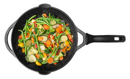 Vegetable pan stir fry. On white background Royalty Free Stock Images