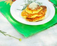 Vegetable pancake with sour cream Stock Photography